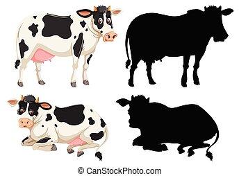 ensemble, caractère, vache