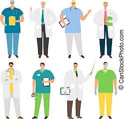 ensemble, caractères, médecins