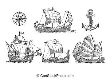ensemble, caravel, trireme, voile, drakkar, bateaux, mer,...