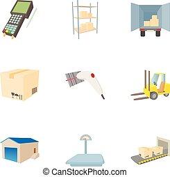 ensemble, cargaison, style, dessin animé, icônes