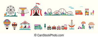 ensemble, carnaval, foire, cirque, parc, air, amusement, amusement, coaster., ballons, carrousels, rouleau, icône