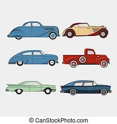 ensemble, cars., retro