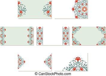 ensemble, cartes., business, floral