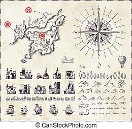 ensemble, cartographie, moyen-âge