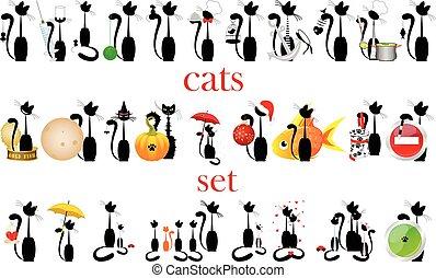 ensemble, cats., vector., isolé