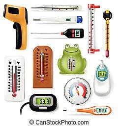ensemble, celsius, mesure, froid, échelle, température, isolé, fahrenheit, équipement, chaud, thermomètre, temps, blanc, mesurer, degré, illustration, fond, tempering, monde médical, météorologie, vecteur, ou