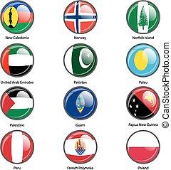 ensemble, cercle, icône, drapeaux, de, mondiale, souverain, states., vecteur, illustr