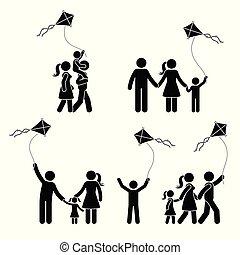 ensemble, cerf volant, famille, crosse, actif, figure, heureux, icône