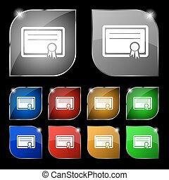 ensemble, certificat, dix, signe., glare., boutons, vecteur, coloré, icône