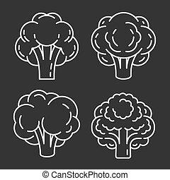 ensemble, cerveau, style, contour, icône