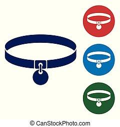 ensemble, chains., simple, conjugal, étiquette, bleu, chouchou, isolé, collier, arrière-plan., fournitures, cercle, buttons., illustration, animal., blanc, couleur, icône, nom, chien, chat, vecteur, care.