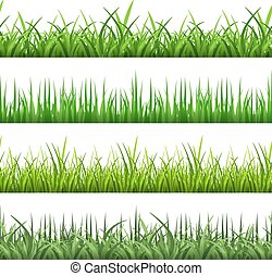 ensemble, champ, seamless, motifs, grass., vecteur, vert, horizontal