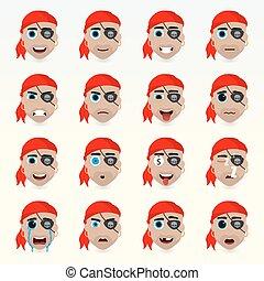 ensemble, character., icons., divers, émotions, avatar