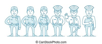 ensemble, characters., police
