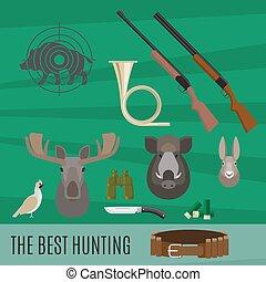 ensemble, chasse, éléments