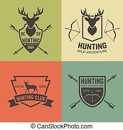 ensemble, chasse, club, vendange, emblèmes, vecteur