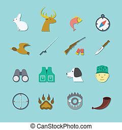 ensemble, chasse, icônes