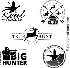 ensemble, chasse, logos, club, étiquettes, emblèmes, vecteur
