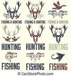 ensemble, chasse, vendange, étiquettes, éléments, conception, peche
