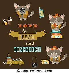 ensemble, chats, voyageurs