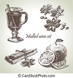 ensemble, chauffé, main, vin, fruit, illustrations, dessiné...