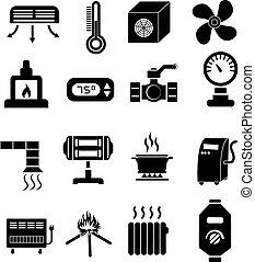 ensemble, chauffage, icônes