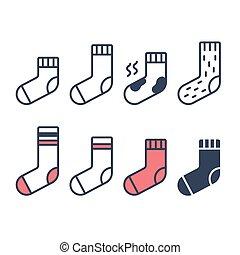 ensemble, chaussettes, icônes