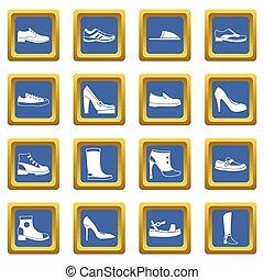 ensemble, chaussure, icônes, bleu