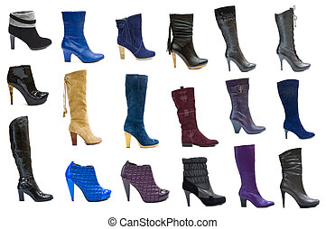 ensemble, chaussures, articles, isolé, collection, automne, bottes, femme, 18, saisons, blanc, ou, hiver