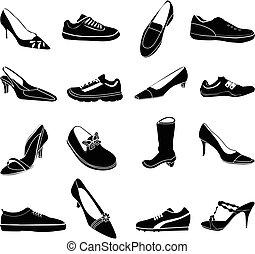 ensemble, chaussures, icônes