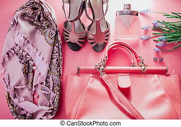ensemble, chaussures, printemps, vêtements, accessoires, outfit., femme