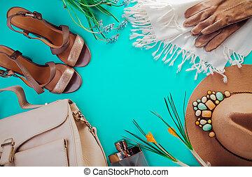 ensemble, chaussures, printemps, vêtements, accessories., outfit., femme