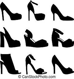 ensemble, chaussures, silhouettes, arrière-plan noir, blanc