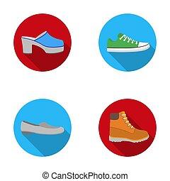 ensemble, chaussures, sole., bitmap, élevé, femme, ballet, obstrue, icônes, volte-face, plate-forme, espadrilles, appartements, dentelles, rouges, stockage, plat, talon, symbole, web., style, collection, illustration, raster, gris, vert, tracteur