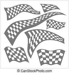 ensemble, checkered, -, vecteur, drapeaux, courses