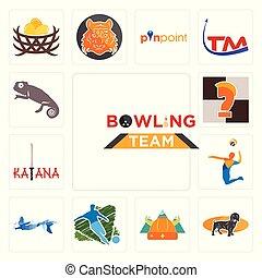 ensemble, chevalier, icônes, caméléon, football, sirène, équipe, nordique, katana, volée, bowling, teckel, échecs