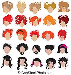 ensemble cheveux, vecteur, branché, styling