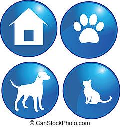 ensemble, chien, chat, vecteur, animaux familiers, logo, éléments