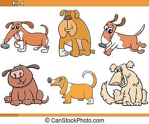 ensemble, chiens, caractères, dessin animé