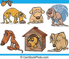 ensemble, chiens, errant, illustration, triste, dessin animé