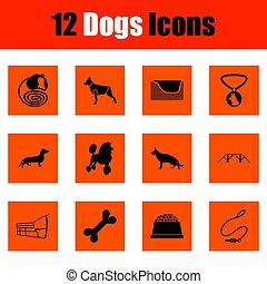 ensemble, chiens, icône