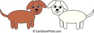 ensemble, chiens, vecteur, illustration