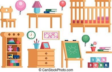 ensemble, childrens, salle, collection, intérieur, meubles