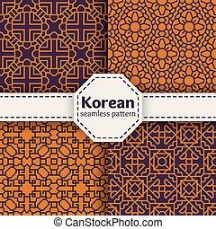 ensemble, chinois, seamless, ou, motifs, vecteur, coréen,...