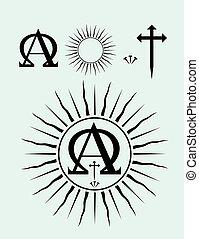ensemble, chrétien, icône