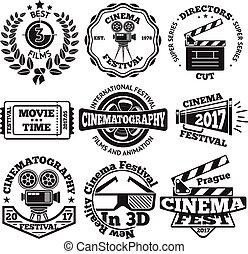 ensemble, cinéma, bardeau, vecteur, appareil photo, billet, etc., insignes