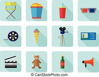 ensemble, cinéma, couleur, icônes, movies., vecteur