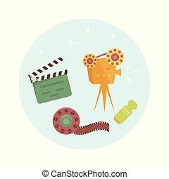 ensemble, cinéma, icons., vecteur, illustrations, dessin animé