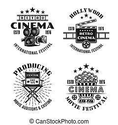 ensemble, cinéma, quatre, emblèmes, vecteur, noir, retro