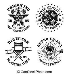 ensemble, cinéma, quatre, emblèmes, vecteur, retro, monochrome